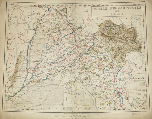 Punjab, Punjab States and Delhi, 1933. Map courtesy of the Royal Geographical Society