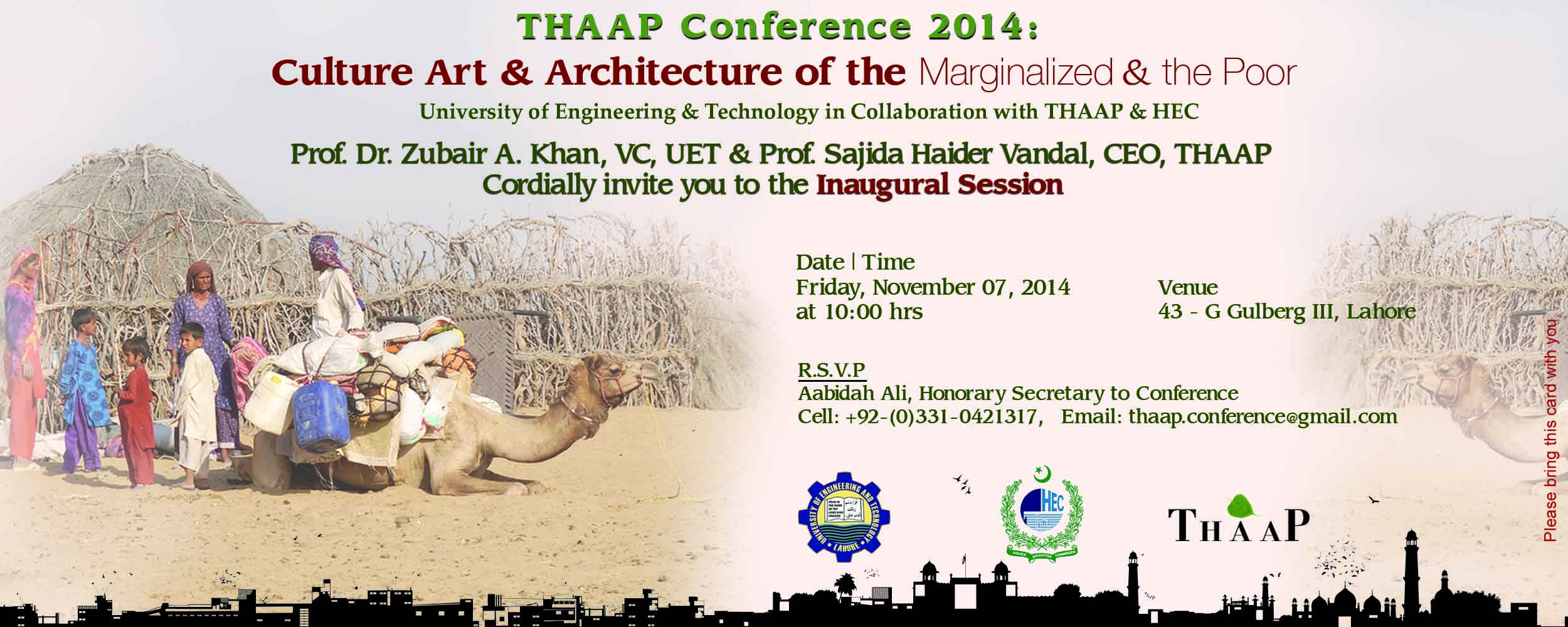 You Are Cordially Invited To Attend The 5th Thaap International Conference 2014 On Theme Culture Art And Architecture Of Marginalized